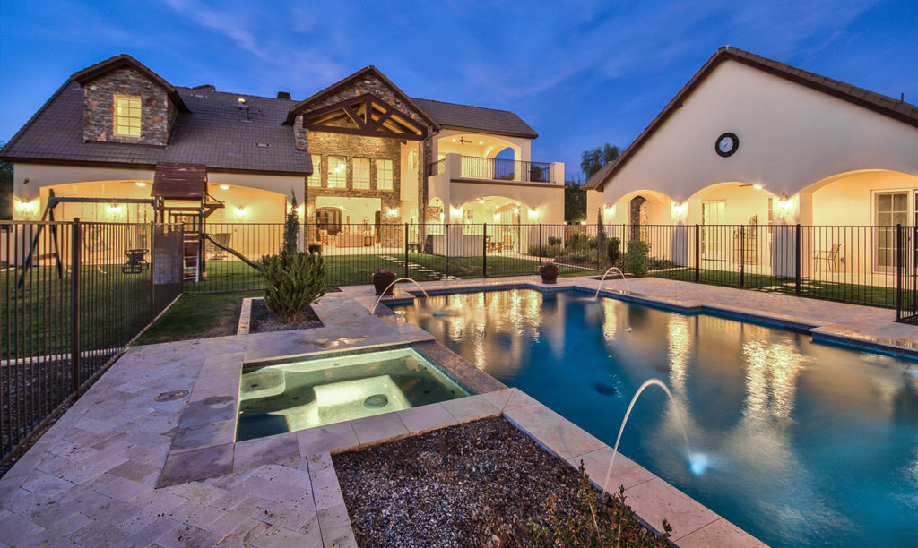 French Country Custom Home Backyard Pool