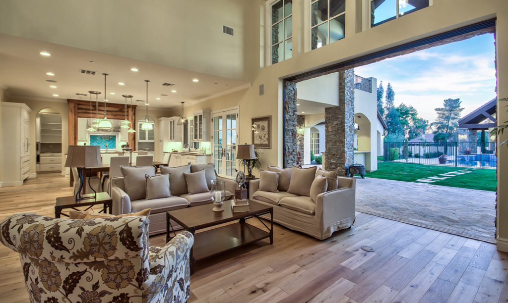French Country Custom Home Family Area