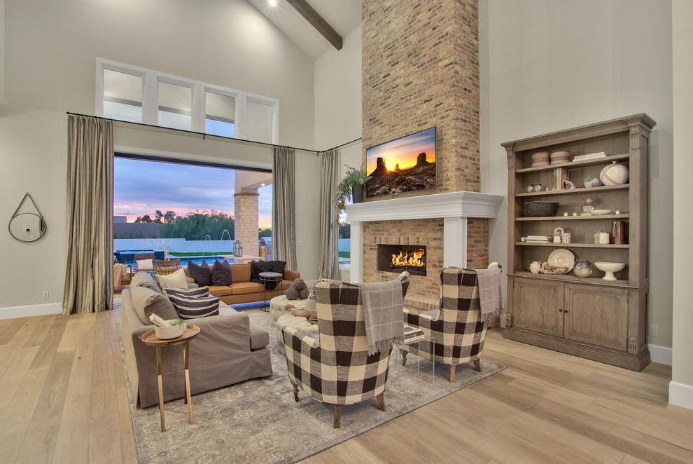 Modern-Farmhouse-Living-Room-Design-Featuring-High-Ceiling-Beam-Work 2