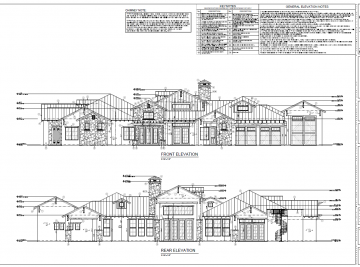 Shangri La Custom Home Elevation drawing of front and back